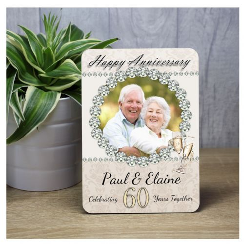 Personalised 60th Diamond Wedding Anniversary Wood Photo Panel Print Gift F34